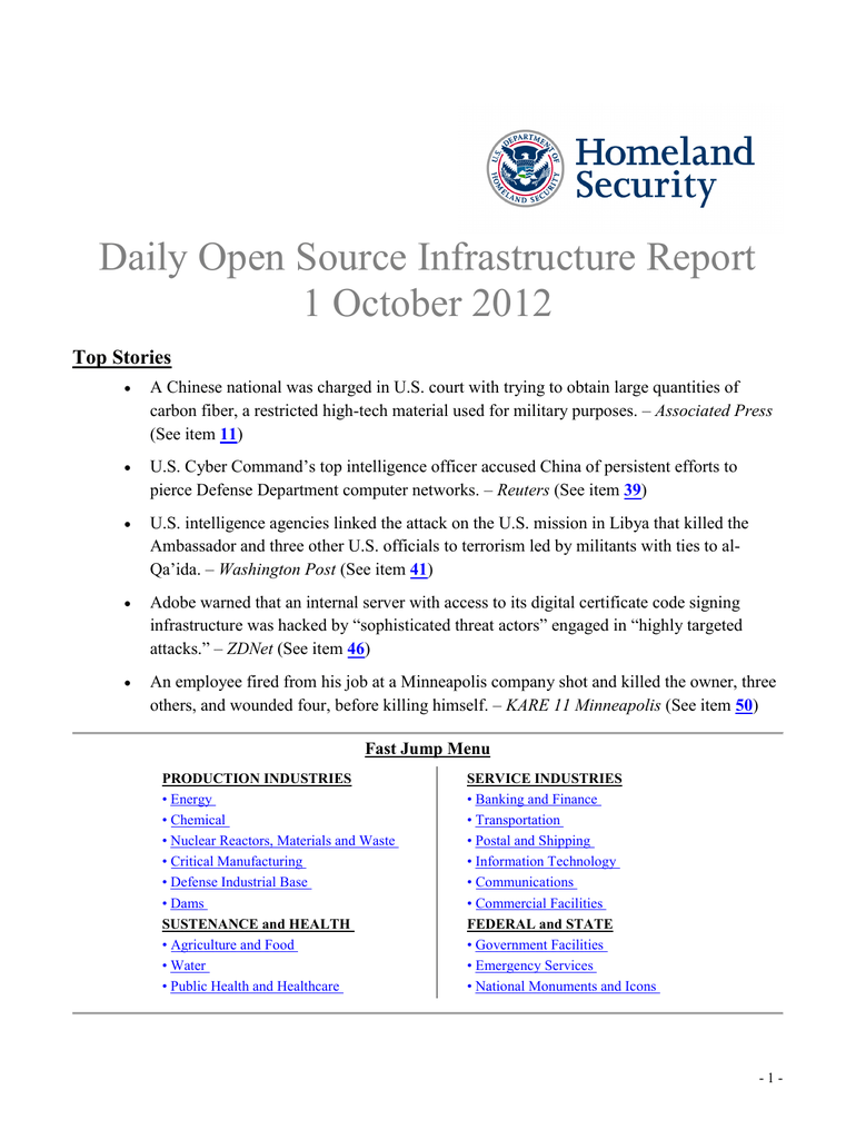 Daily Open Source Infrastructure Report 1 October 2012 Top Stories
