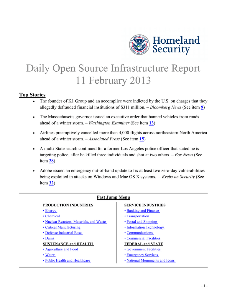 daily open source infrastructure report 11 february 2013 top stories