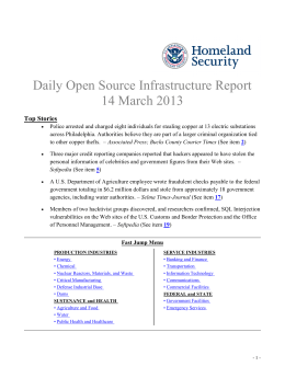 Daily Open Source Infrastructure Report 14 March 2013  Top Stories