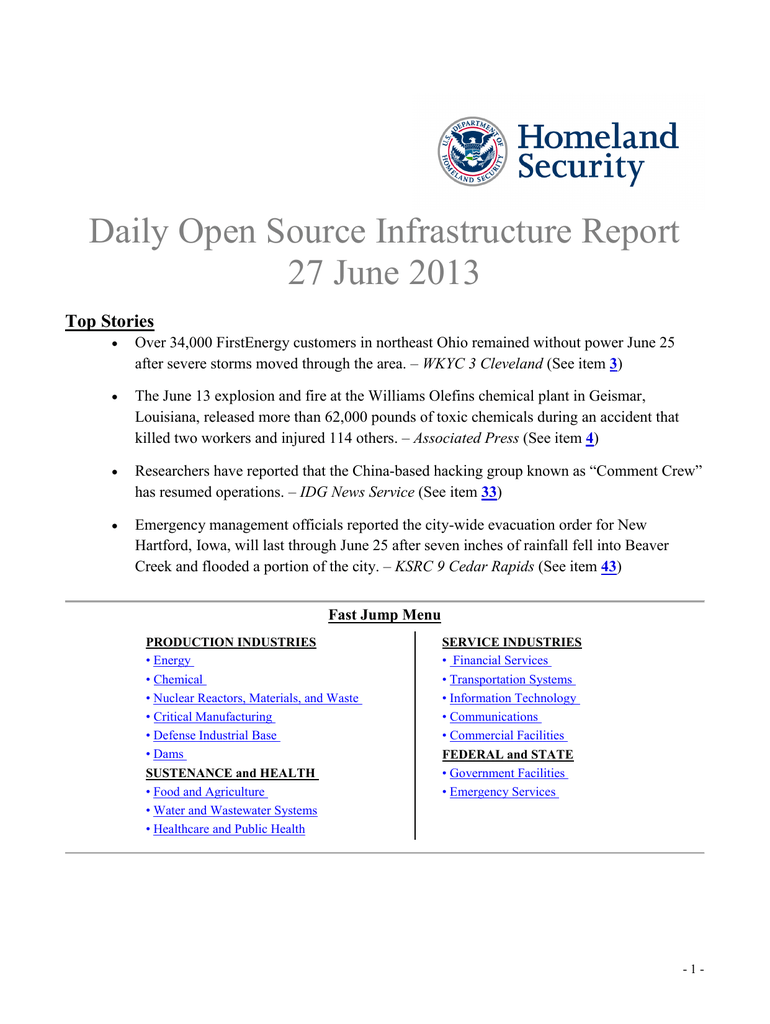 Daily Open Source Infrastructure Report 27 June 2013 Top Stories