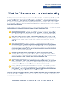 What the Chinese can teach us about networking  Provided by OptimalResume.com