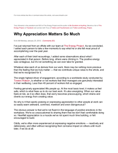 Why Appreciation Matters So Much