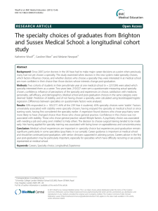 The specialty choices of graduates from Brighton study