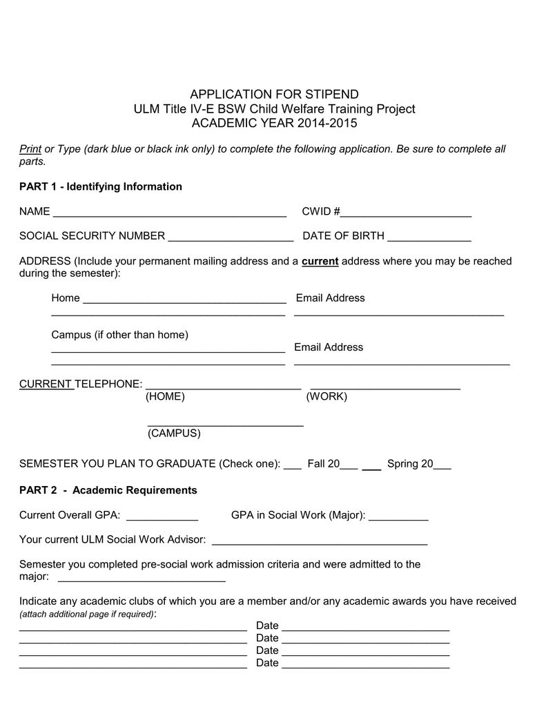 APPLICATION FOR STIPEND ULM Title IV-E BSW Child Welfare