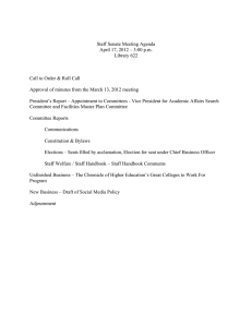 Staff Senate Meeting Agenda April 17, 2012 – 3:00 p.m. Library 622
