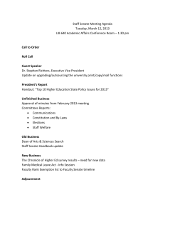 Staff Senate Meeting Agenda Tuesday, March 12, 2013 – 1:30 pm