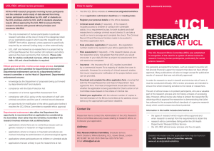 UCL REC ethical review process: