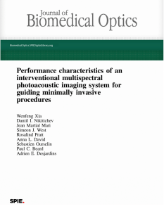 Performance characteristics of an interventional multispectral photoacoustic imaging system for guiding minimally invasive