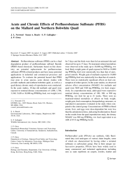 Acute and Chronic Effects of Perfluorobutane Sulfonate (PFBS)