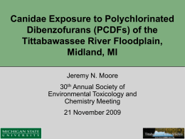 Canidae Exposure to Polychlorinated Dibenzofurans (PCDFs) of the Tittabawassee River Floodplain, Midland, MI