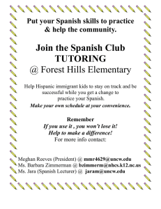 Join the Spanish Club TUTORING @ Forest Hills Elementary