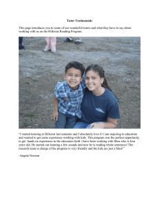 Tutor Testimonials  working with us on the Hillcrest Reading Program.