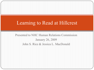 Learning to Read at Hillcrest Presented to NHC Human Relations Commission