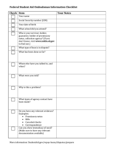Federal Student Aid Ombudsman Information Checklist Check Item Your Notes