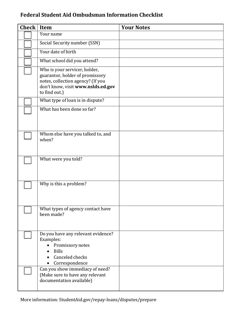 Federal Student Aid Ombudsman Information Checklist Check Item Your