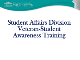 Student Affairs Division Veteran-Student Awareness Training