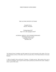 NBER WORKING PAPER SERIES THE FACTOR CONTENT OF TRADE Donald R. Davis