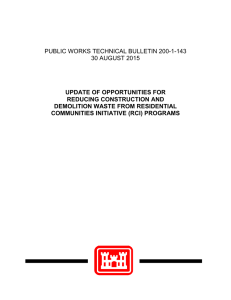 PUBLIC WORKS TECHNICAL BULLETIN 200-1-143 30 AUGUST 2015 UPDATE OF OPPORTUNITIES FOR
