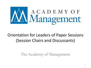 Orientation for Leaders of Paper Sessions (Session Chairs and Discussants)
