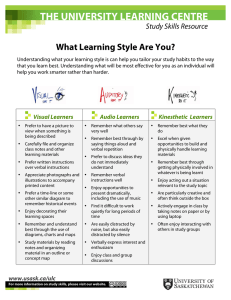 THE UNIVERSITY LEARNING CENTRE What Learning Style Are You? Study Skills Resource