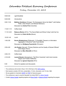 Columbia Political Economy Conference Friday, December 13, 2013