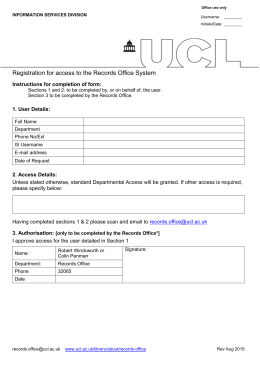 Registration for access to the Records Office System