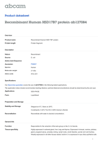 Recombinant Human HSD17B7 protein ab127084 Product datasheet Overview Product name