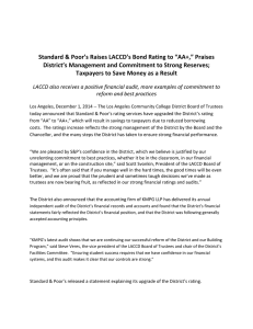 "Standard & Poor's Raises LACCD's Bond Rating to ""AA+,"" Praises"