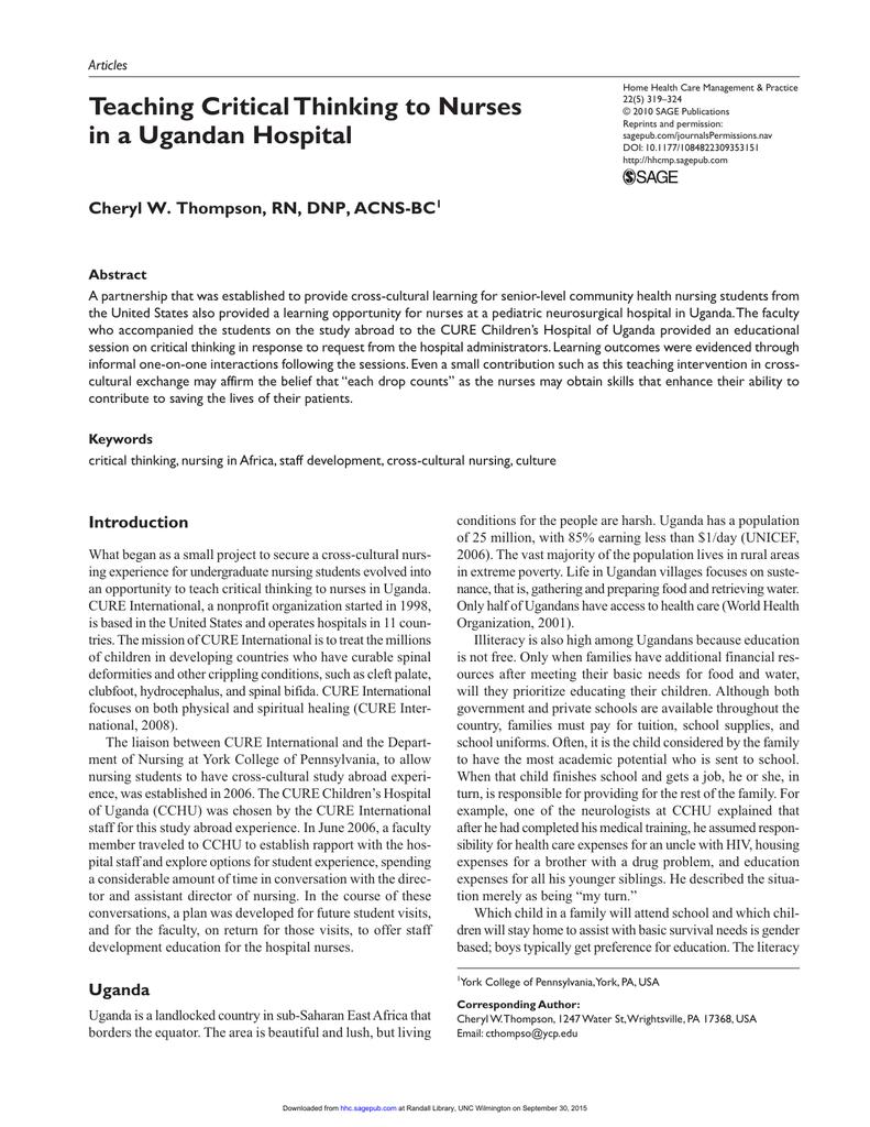critical thinking journals nursing