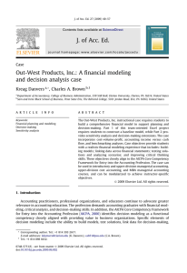J. of Acc. Ed. Out-West Products, Inc.: A financial modeling Kreag Danvers