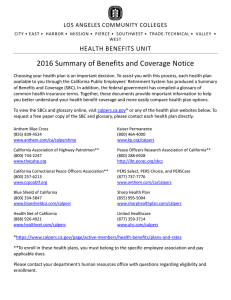 2016 Summary of Benefits and Coverage Notice HEALTH BENEFITS UNIT