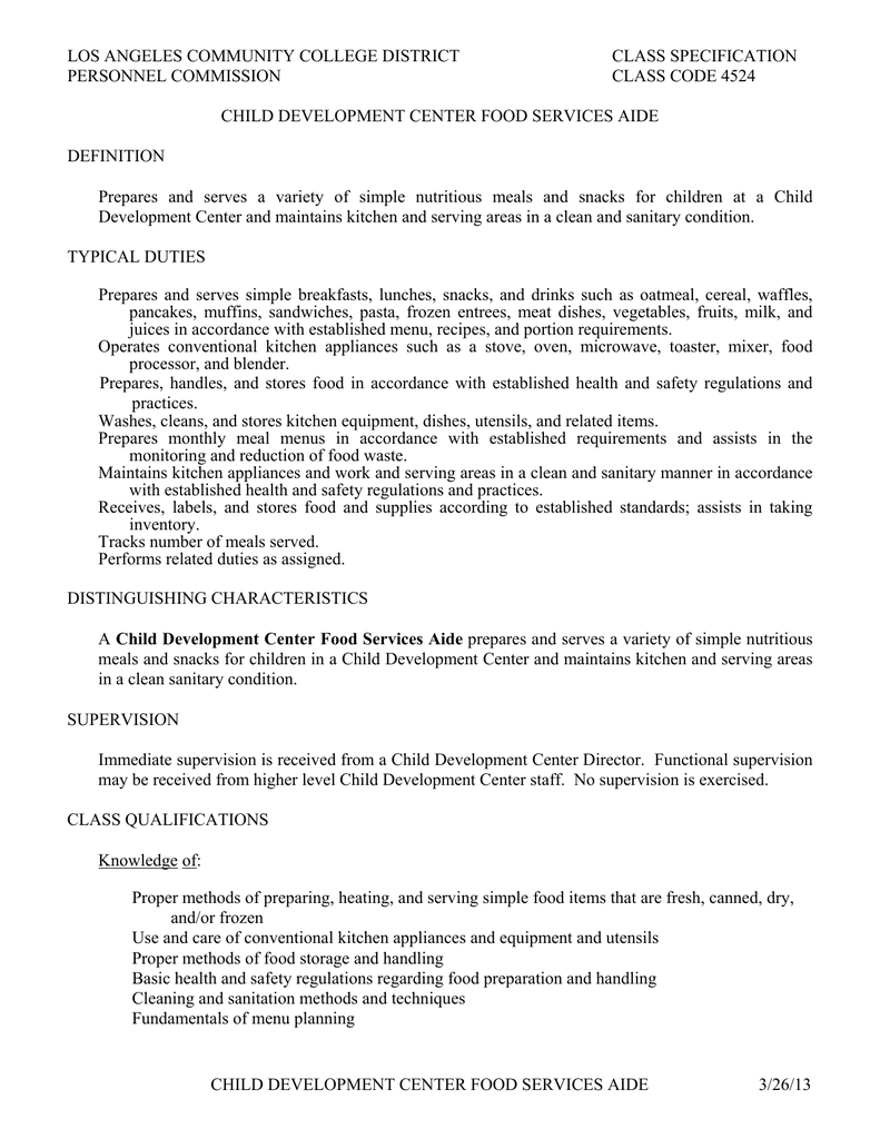 LOS ANGELES COMMUNITY COLLEGE DISTRICT CLASS SPECIFICATION