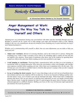 Strictly Classified  Anger Management at Work: Changing the Way You Talk to