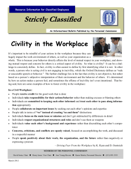Strictly Classified Civility in the Workplace