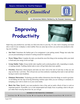 Strictly Classified  Improving Productivity