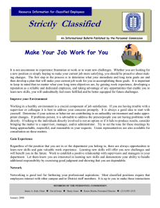 Strictly  Classified  Make Your Job Work for You