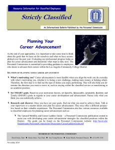 Strictly Classified  Planning Your Career Advancement
