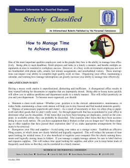 Strictly  Classified  How to Manage Time to Achieve Success