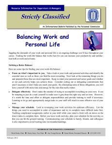 Strictly Classified  Balancing Work and Personal Life