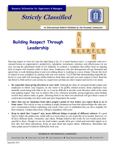 Strictly Classified  Building Respect Through Leadership