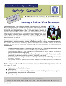 Strictly  Classified  Creating a Positive Work Environment the
