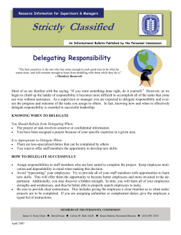 Strictly  Classified  Delegating Responsibility Resource Information for Supervisors & Managers