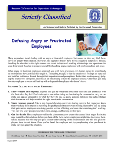 Strictly Classified  Defusing Angry or Frustrated Employees