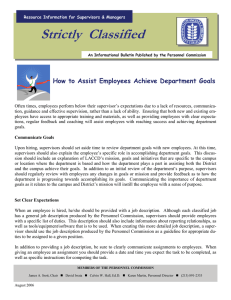 Strictly  Classified  How to Assist Employees Achieve Department Goals