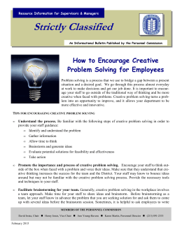 Strictly Classified  How to Encourage Creative Problem Solving for Employees