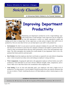 Strictly Classified  Improving Department Productivity