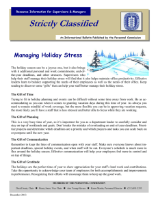 Strictly Classified  Managing Holiday Stress