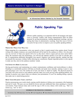 Strictly Classified  Public Speaking Tips