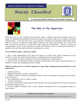 Strictly  Classified  The Role of the Supervisor