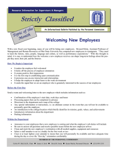 Strictly  Classified  Welcoming New Employees the